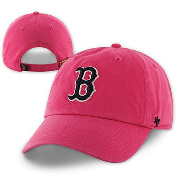 Women's Boston Red Sox '47 Brand Clean Up Magenta Hot Pink Ladies Adjustable Hat / Cap