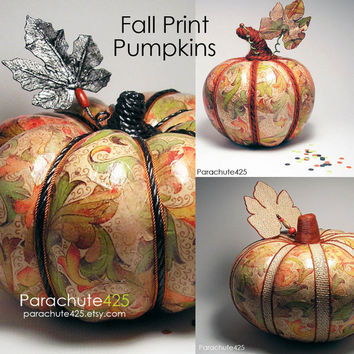 Pretty Print Pumpkin, unique Halloween decor, decoupage pumpkin, recycled materials, fall colors