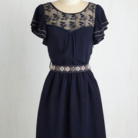 Vintage Inspired Mid-length Short Sleeves A-line Indie Darling Dress in Navy