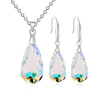 Fashion plastic glass Silver color Falling drops of water womens jewellery set of  wedding jewerly sets for women sets of africa