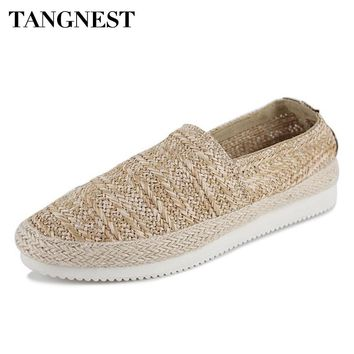 Tangnest Vintage Hemp Shoes Men NEW 2017 Summer Breathable Flat Shoes Casual Shallow Slip-on Footwear Man Loafers XMR2649