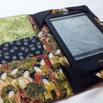Japanese Geisha Cotton Print  E-Reader Cover Kindle , Nook Cover, Kobo Cover, Kindle Fire Cover, Kindle Touch Cover Made to Order