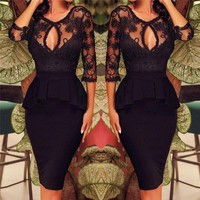 New Arrival Plus Size Womens Sexy Lace Hollow Bodycon Peplum Party Evening Pencil Dress Black Color