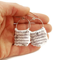 Music Sheet Earrings, White Black Dangle Hoops