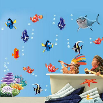 New Fish Seabed NEMO Wall Sticker Cartoon Wall Sticker Decor Removable Vinyl Nursery Kids Room Decals SM6