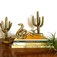 Vintage Brass Saguaro Cactus and Roadrunner