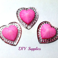 3 pink hearts resin flat back - acrylic flatback - flower centers - hair bow centers - cabochons - scrapbooking - hair bow supplies