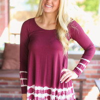 Tye Dye Edges Tunic - Maroon