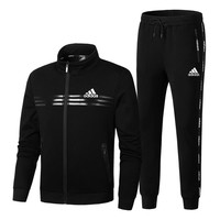 ADIDAS autumn and winter new warm casual collar collar jacket trousers two-piece