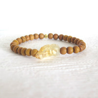 Fragrant Sandalwood and Citrine Nugget Stacking Bracelet, Organic Natural Yoga Inspired Bracelets, Boho Beaded Bracelet, Earthy Tribal