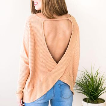 DreamsicleOpen Back Ribbed Sweater