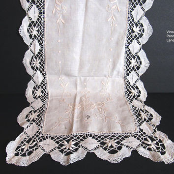 Vintage Embroidered Crocheted Linen Table Runner, Centerpiece, Ivory Linen