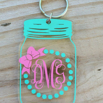 Bow & Monogram Mason Jar Key Chain