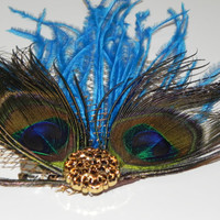 Peacock feather fascinator head piece hair clip by tashascreations