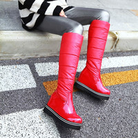 Patent Leather Down Tall Boots Winter Shoes 6207