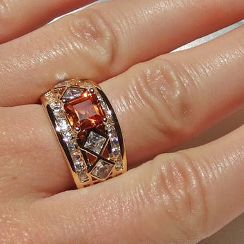 Vintage Fire Citrine and White Topaz Band Ring, 3.3 carats, Square Step Cut, Princess and Round Brilliant Cut, 18k Gold Vermeil,  3 Row Band
