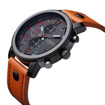 Men Leather Strap Watch Sport Analog Quartz Wrist Watch (Color:Black,Blue,Brown,Orange,Red) [8322866753]