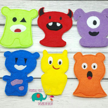 Monster finger puppets embroidered, puppet, kids, children, toys, games, make believe, pretend play, felt, halloween