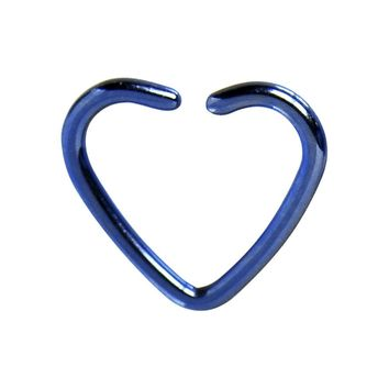 Blue Titanium Hollow Heart Closure Daith CartilageTragus Earring