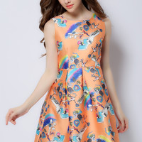 Orange Printed Sleeveless High Waist A-Line Pleated Mini Dress