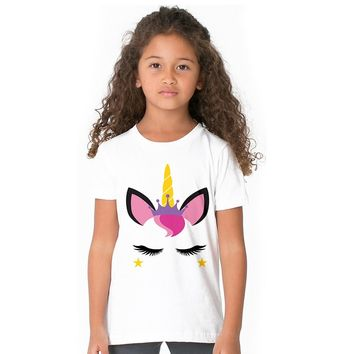 Pattern Unicorn Face Girl T-shirt Cute Design Unicorn Emoji Kids T Shirt 100% Cotton Summer Tees for Toddler Girls Baby Clothes
