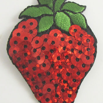 "Strawberry with Red Sequins Iron-On 2"" x 1.25"""