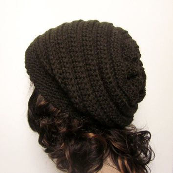 Dark Brown Slouchy Crochet Hat - Womens Slouch Beanie - Ladies Oversized Ribbed Cap - Chunky Hat