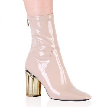 Chloe Perspex Heeled Ankle Boots in Nude