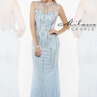 High Neckline Beaded Milano Formals Dress E1908