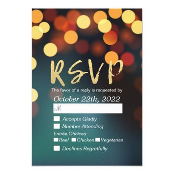 Modern Teal Gold Bokeh Lights Wedding RSVP Reply Card