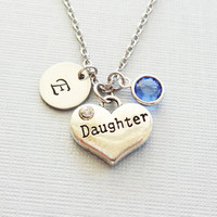 Daughter Necklace, Heart Necklace, Child Gift, Girl Gift, Silver Initial, Swarovski Birthstone, Personalized, Monogram, Hand Stamped Letter