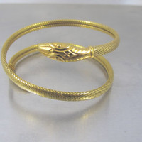 Art Deco German Snake Bracelet, Triple Coiled Gold Serpent Bangle, Gold Omega Mesh Wrapped Arm Band, Antique Snake Serpent Jewelry Large