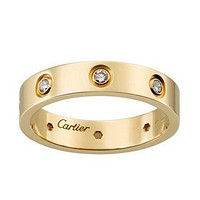 Cartier Fashion Diamonds Plated Personality Women Men Ring Gold