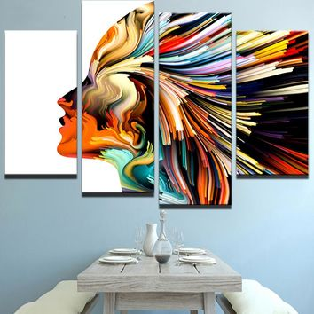 Canvas Wall Art Poster Framework Home Decor 4 Pieces Color Abstract Woman Hair Character Painting Living Room HD Prints Pictures