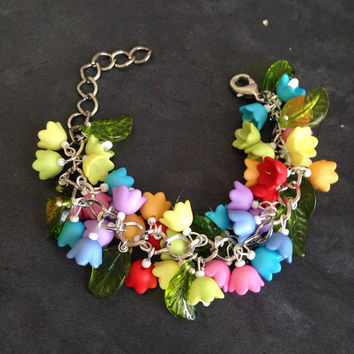Colorful Floral Cluster Bracelet