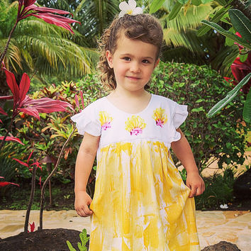 Girl Hawaiian Dress - Hawaiian Dress - Hawaiian Girl Dress -  Dress Hawaii - Hawaii Girl - Party Dress - Hawaii Hand Painted - Girl dress