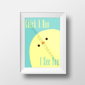 Peek A Boo Nursery Decor, Peek A Boo in Mint, Chick Theme Instant Download Digital Artwork, Printable Wall Art for Baby's Room Chick A Boo