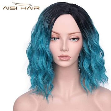 """I's a wig Synthetic Ombre Red Blue Pink Wigs Short Hair for Black  Women's  14""""Long  Water Wave   False Hair Macchar Cosplay Catalogue"""