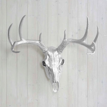 The Large Silver Faux Taxidermy Resin Deer Head Skull Wall Mount | Silver Deer Head w/ Colored Antlers