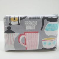 Accessory Pouch, Small Zippered Pouch, in Gray, Coral, Aqua, Retro Coffee Lovers Pouch, Ready to Ship