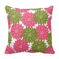 Pretty Pink and Green Flower Blossoms Floral Print