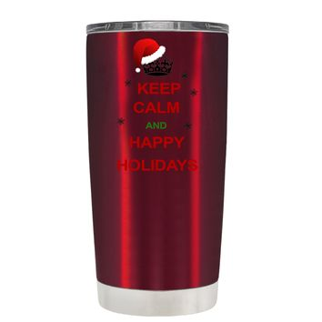 TREK Keep Calm and Happy Holidays on Translucent Red 20 oz Tumbler Cup
