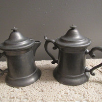 60s 70s Pewter / Wilton Pewter Company / Wilton Pewter Sugar and Creamer / Sugar Creamer Set / Pewter Serving / Peweter Collections / Gifts
