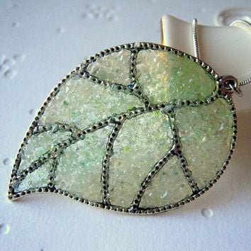 Pale Green Leaf Necklace Oak Leaves Mint Pendant Stained Glass Jewelry Silver Filigree Leaves Grass Woodland Light Pastel Color Statement