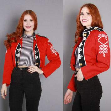 60s MARCHING BAND JACKET / 1960s Cropped Red Military Style Wildcats Jacket xs s