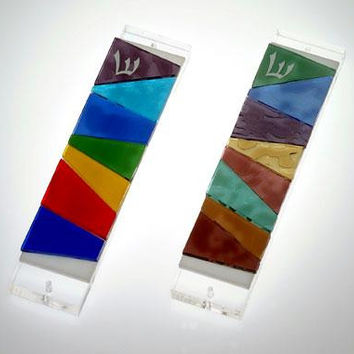 Handmade Glass & Stained Glass Mezuzahs - Joseph's Coat Mezuzah Pastel colors