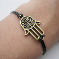 Bracelet- antique bronze Hamsa Hand real leather bracelet,Hamsa Hand  bracelet