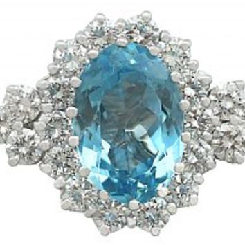 3.59 ct Aquamarine and 1.00 ct Diamond, 14 ct White Gold Cluster Ring - Vintage Circa 1990