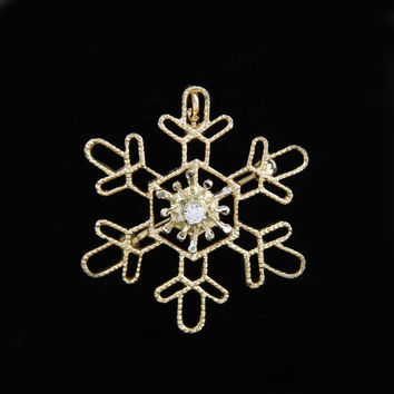 Large Snowflake Pin Pendant Combo with Diamond Accent in 14K Yellow Gold