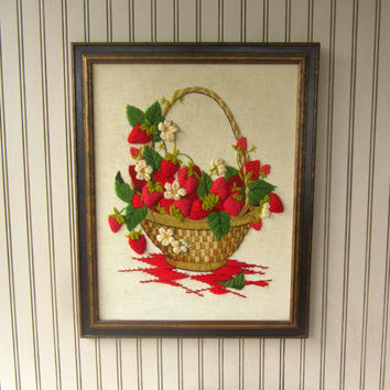 Strawberry Basket Framed Crewel Picture Bright Red and Green , Completed Needlework , Finished Crewel Embroidery Picture Ready to Hang